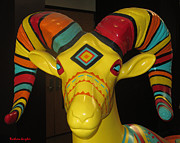 Ram Horn Art - Painted Ram by Barbara Snyder