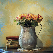 Work Of Art Photo Posters - Painted Roses Poster by Terry Rowe