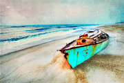 Sand Dunes Framed Prints - Painted Shipwreck on the Outer Banks II Framed Print by Dan Carmichael