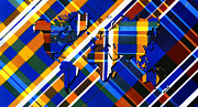 Abstract Map Digital Art - Painted Tartan World Map by Hakon Soreide
