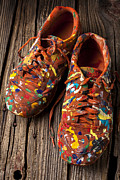 Wooden Prints - Painted Tennis Shoes Print by Garry Gay