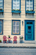 Flower Boxes Posters - Painted Townhouse in Old Quebec City Poster by Edward Fielding