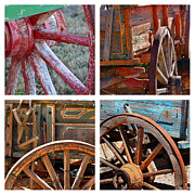 Aged Art Collage Prints - Painted Wagons Print by Art Block Collections