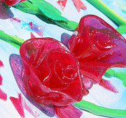 Sculpted Sculpture Prints - Painterly Stained Glass Looking Flowers Print by Ruth Collis