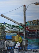 Lobster Post Prints - Painting at Peggys Cove Print by Donna Muller