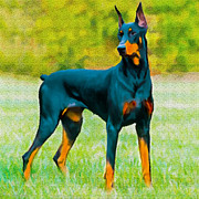 Painting Doberman Pincher Print by Nadine and Bob Johnston