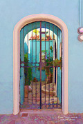Sidewalks. Arches Framed Prints - Painting of a Mexican courtyard Framed Print by David Perry Lawrence