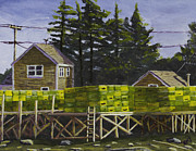 Maine Shore Painting Prints - Painting of Lobster Traps in Port Clyde Maine Print by Keith Webber Jr