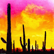 Bell Rock Vortex Framed Prints - Painting of Saguaro Cactus Arizona Sunset Framed Print by Nadine and Bob Johnston