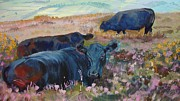 Roaming Painting Posters - Painting of three black cows in landscape without sky Poster by Mike Jory