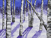 Snowy Trees Paintings - Painting of White Birch Trees in Winter by Keith Webber Jr
