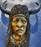 Teara Na Metal Prints - Painting of WOOD SPIRIT CARVING NATIVE AMERICAN INDIAN Metal Print by Teara Na