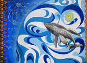 Sassan Filsoof Posters - Painting print Cosmic Whale Poster by Sassan Filsoof