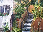 Villa Paintings - Painting    Siesta Steps by Judy Via-Wolff