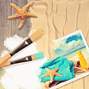 Beach Photograph Posters - Painting Summer Postcard Poster by Christopher and Amanda Elwell