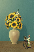 Surrealist Painter Framed Prints - Painting Sunflowers - Surreal Art Framed Print by Liam Liberty