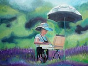 Wineries Paintings - Painting the Lavender Fields by Donna Tuten