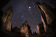 Custer State Park Prints - Painting The Needles Under The Geminids Meteor Shower Print by Mike Berenson