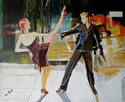 Dancers Metal Prints - Painting the Sidewalk Metal Print by Judy Kay