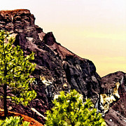 National Mixed Media Prints - Painting Volcanic Mountain Flagstaff Arizona Print by Nadine and Bob Johnston