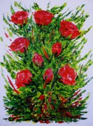 Flower Arrangement Paintings - Painting with Knife of Red Roses  by Mario  Perez