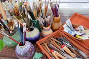 Oil Paints Posters - Painting Work Table Poster by Mary Deal