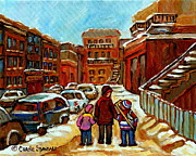 Paintings Of Baron Byng High School St Urbain A Winter Walk Down Memory Lane Montreal Art Carole  Print by Carole Spandau