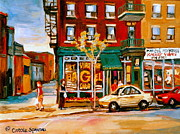 Montreal Places Framed Prints - Paintings Of  Famous Montreal Places St. Viateur Bagel City Scene Framed Print by Carole Spandau