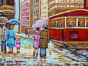 Montreal Storefronts Paintings - Paintings Of Fifties Montreal-downtown Streetcar-vintage Montreal Scene by Carole Spandau
