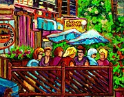 Outdoor Cafes Posters - Paintings Of Monkland Village Second Cup Cafe Montreal City Scene Poster by Carole Spandau