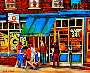 Paintings Of Montreal Memories Bagel And Bread Shop St. Viateur Boulangerie Depanneur City Scenes Print by Carole Spandau