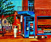 Paintings Of Montreal Memories Moe Wilenskys Famous Corner Deli  Montreal Spring City Scene Print by Carole Spandau