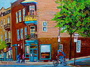 Montreal Neighborhoods Paintings - Paintings Of Montreal Streets Wilenskys Lunch Counter by Carole Spandau