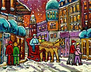 Old Montreal Posters - Paintings Of Old Quebec Magical Vieux Port Montreal City Scenes Caleche In Winter Carole Spandau Poster by Carole Spandau