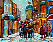 Horse And Buggy Painting Posters - Paintings Of Snowscenes Old Montreal Winter Scene Art Horse And Buggy Old City Quebec Carole Spandau Poster by Carole Spandau