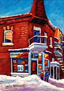 Depanneur Prints - Paintings Of Verdun Depanneur 7 Jours Montreal Winter Street Scenes By Carole Spandau Print by Carole Spandau