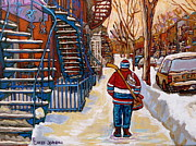 Snow Scenes Drawings Prints - Paintings Of Verdun Montreal Staircases In Winter Walking Home After The Game By Carole Spandau Print by Carole Spandau