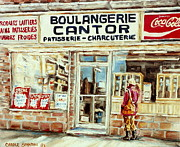 Snowfall Paintings - Paintings Of Vintage Montreal City Scenes Cantors Bakery West End Montreal by Carole Spandau