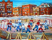 Hockey Painting Posters - Paintings  Verdun Rink Hockey Montreal Memories Canadiens And Maple Leaf Hockey Game Carole Spandau Poster by Carole Spandau