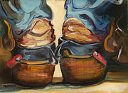 Original Cowboy Paintings - Pair of Boots by Diane Whitehead