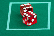 Throw Prints - Pair Of Dice On Casino Felt Print by Gunter Nezhoda