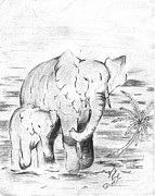 Elephants Drawings - Pair of Elephants by Donald Jones