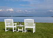 Maryland Wine Framed Prints - Pair of garden chairs by Chesapeake bay Framed Print by Steve Heap