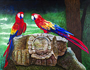 Parrots Photos - Pair of Parrots by Barbara Heinrichs by Sheldon Kralstein