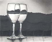 Vineyard Landscape Drawings Prints - Pairing Print by Mark Treick