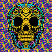 Decorate Mixed Media Prints - Paisley Skull Print by Tony Rubino