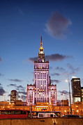 Polish Culture Prints - Palace of Culture and Science at Dusk in Warsaw Print by Artur Bogacki