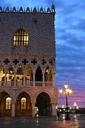 Palazzo Ducale Posters - Palace of Doges in Venice sunrise Poster by Kiril Stanchev