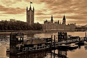 London Pier Framed Prints - Palace of Westminster and Lambeth Pier Framed Print by David Gardener