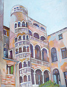 Staircase  Mixed Media Prints - Palazzo Contarini del Bovolo Print by Filip Mihail